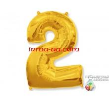 """Фольгированная цифра Китай (65 см) - """"2"""" (золото)"""