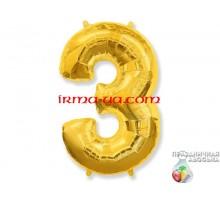 """Фольгированная цифра Китай (65 см) - """"3"""" (золото)"""