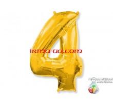 """Фольгированная цифра Китай (65 см) - """"4"""" (золото)"""