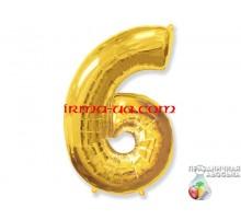 """Фольгированная цифра Китай (65 см) - """"6"""" (золото)"""