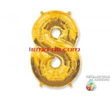 """Фольгированная цифра Китай (65 см) - """"8"""" (золото)"""