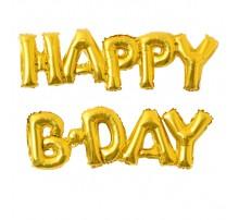 Фольгированная надпись «Happy B-day» золото