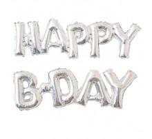 Фольгированная надпись «Happy B-day» серебро