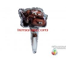 Шар фольгированный с ручкой Китай — Тачка пикап на серебряном