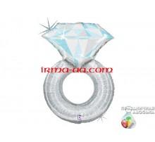 Фольгированный Шар-Фигура Grabo «Обручальное кольцо серебро» 79 см