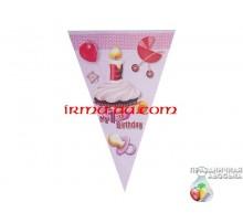 Флажки «My 1st Birthday розовая» 2,5 м