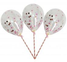 Шарики-топперы на палочке с конфетти для торта - розоовый