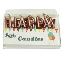"""Свечи-буквы в торт """"Happy Birthday"""" розовое золото перламутр"""