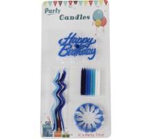 "Свечи для торта ""Happy Birthday"" (F18) голубые"