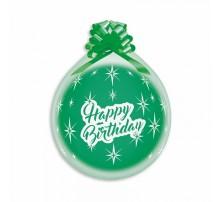 """Шар-сюрприз латексный Gemar с печатью """"Happy Birthday"""" - прозрачный (кристал) 18'"""