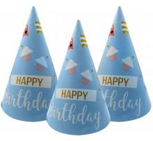 Колпак 20 см «Happy Birthday. Кексы, флажки»