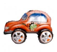 """Фольгированный шар-ходячка Китай """"Машинка"""" - динозаврик оранжевый"""