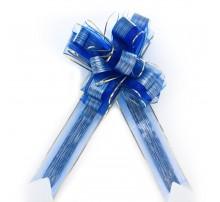 Бант подарочный, затяжной - синий с золотым ободком