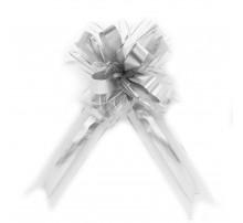 Бант подарочный, затяжной - серебро