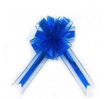 Бант подарочный, затяжной - синий металлик