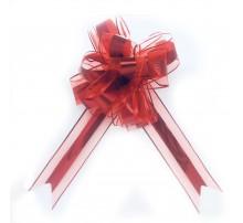 Бант подарочный, затяжной - красный металлик