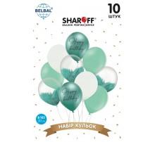 "Набор Латексных Шаров SHAROFF ""Happy Birthday. Тиффани + белый"" (10 шт.)"