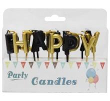 """Свечи-буквы в торт """"Happy Birthday"""" - золото с черным"""