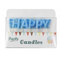 """Свечи-буквы в торт """"Happy Birthday"""" голубые в горошек"""