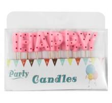 """Свечи-буквы в торт """"Happy Birthday"""" розовые в горошек"""