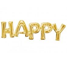 """Фольгированная надпись """"Happy"""" - золото"""