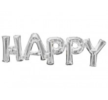 """Фольгированная надпись """"Happy"""" - серебро"""
