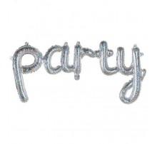 """Фольгированная надпись """"Party"""" - серебро (голограмма)"""