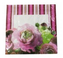 """Салфетки """"Розы, розовые полосы"""""""