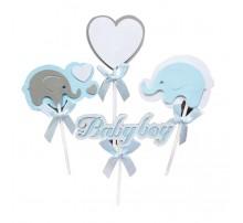 """Топпер в торт """"Слоники Baby Boy"""" - голубой"""