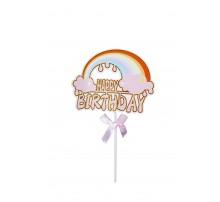 "Топпер в торт ""Happy Birthday. Радуга"" - розовый"
