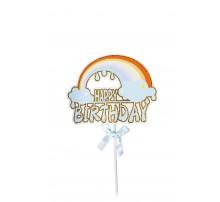 "Топпер в торт ""Happy Birthday. Радуга"" - голубой"