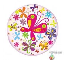 Шар Арт-SHOW Круг фольгированный «Бабочки» 18'(45 см)