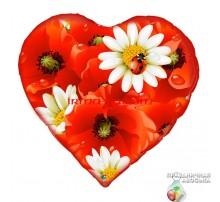 Шар Арт-SHOW Сердце фольгированное «Маки» 18'(45 см)