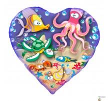 Шар Арт-SHOW Сердце фольгированное «Веселое море» 18'(45 см)